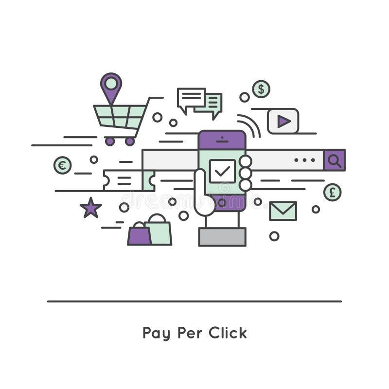 custo do PPC do Pagamento-por-clique pelo modelo da propaganda do Internet do CPC do clique ilustração do vetor