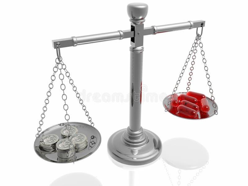 Custo elevado da medicina ilustração stock