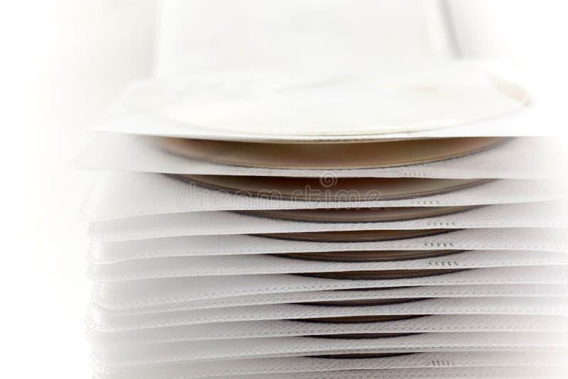 Custodia in plastica con gli archivi su disco fotografia stock
