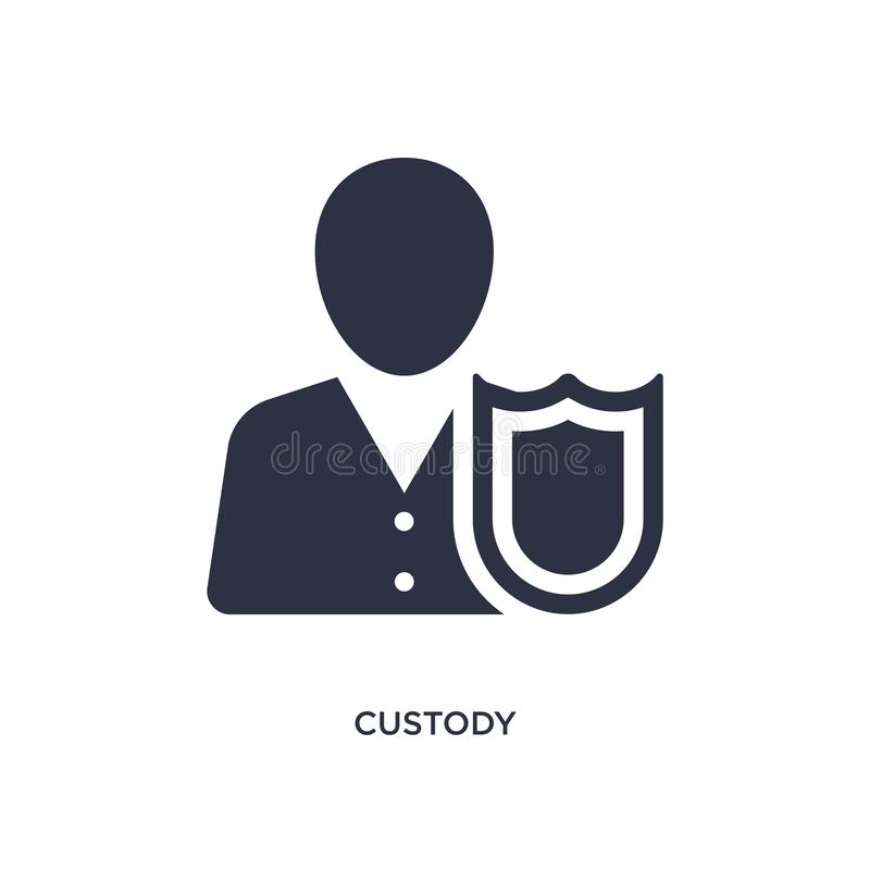 custody icon on white background. Simple element illustration from law and justice concept stock illustration