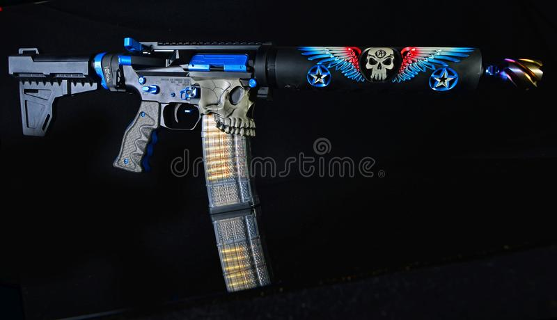 Custom AR15 pistol isolated on black HDR royalty free stock photography