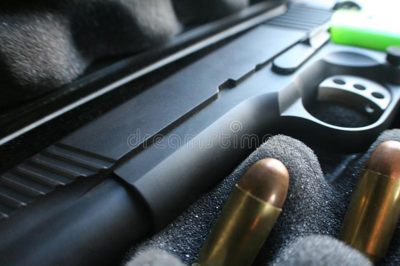 Custom 1911 45 Auto Handgun In Case With Bullets High Quality stock photo