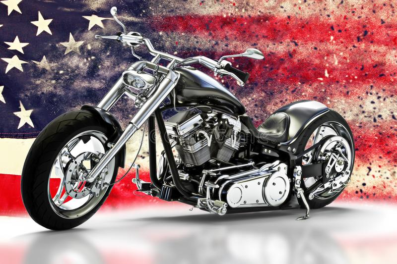 Custom black motorcycle with American flag background with dispersion effects. Made in America concept. 3d rendering stock illustration