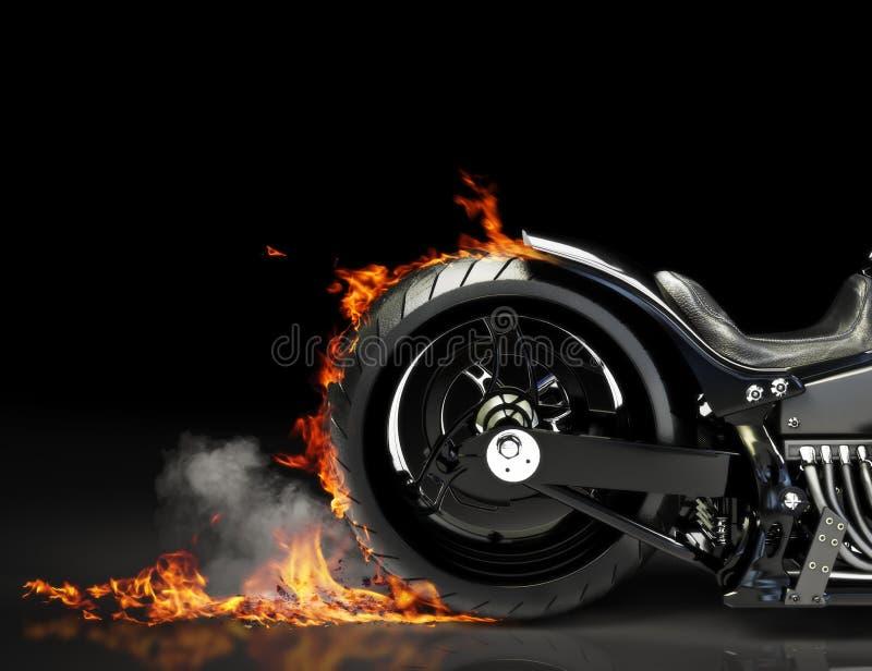 Custom black motorcycle burnout royalty free illustration