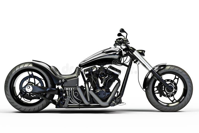 Custom black motorcycle stock illustration