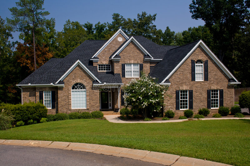 Custom brick home stock image image of lawn residential for Custom built brick homes