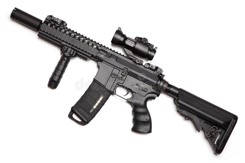 Custom build compact size M4A1 assault carbine royalty free stock image