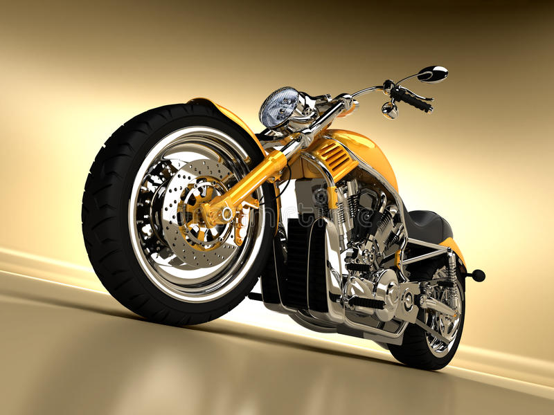 Custom Chopper. A beautiful studio shot of a yellow Harley Davidson stock illustration