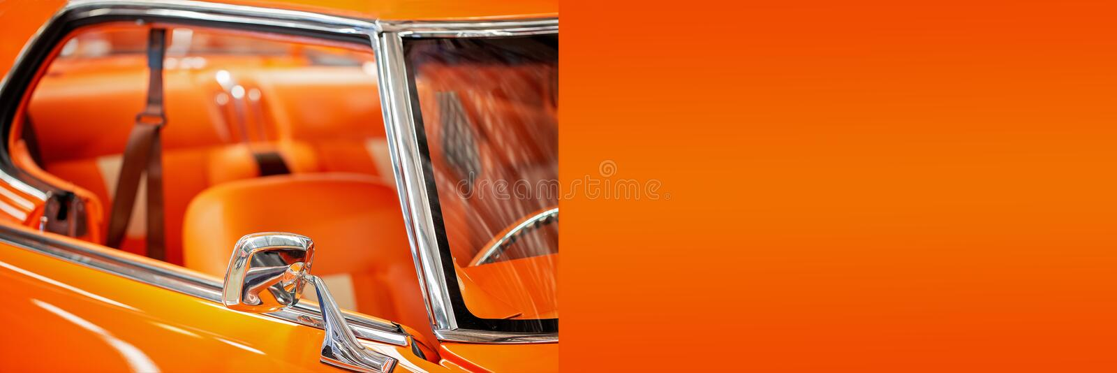 Custom Classic Vintage Car Banner With Copy Space. For text advertisement royalty free stock photography