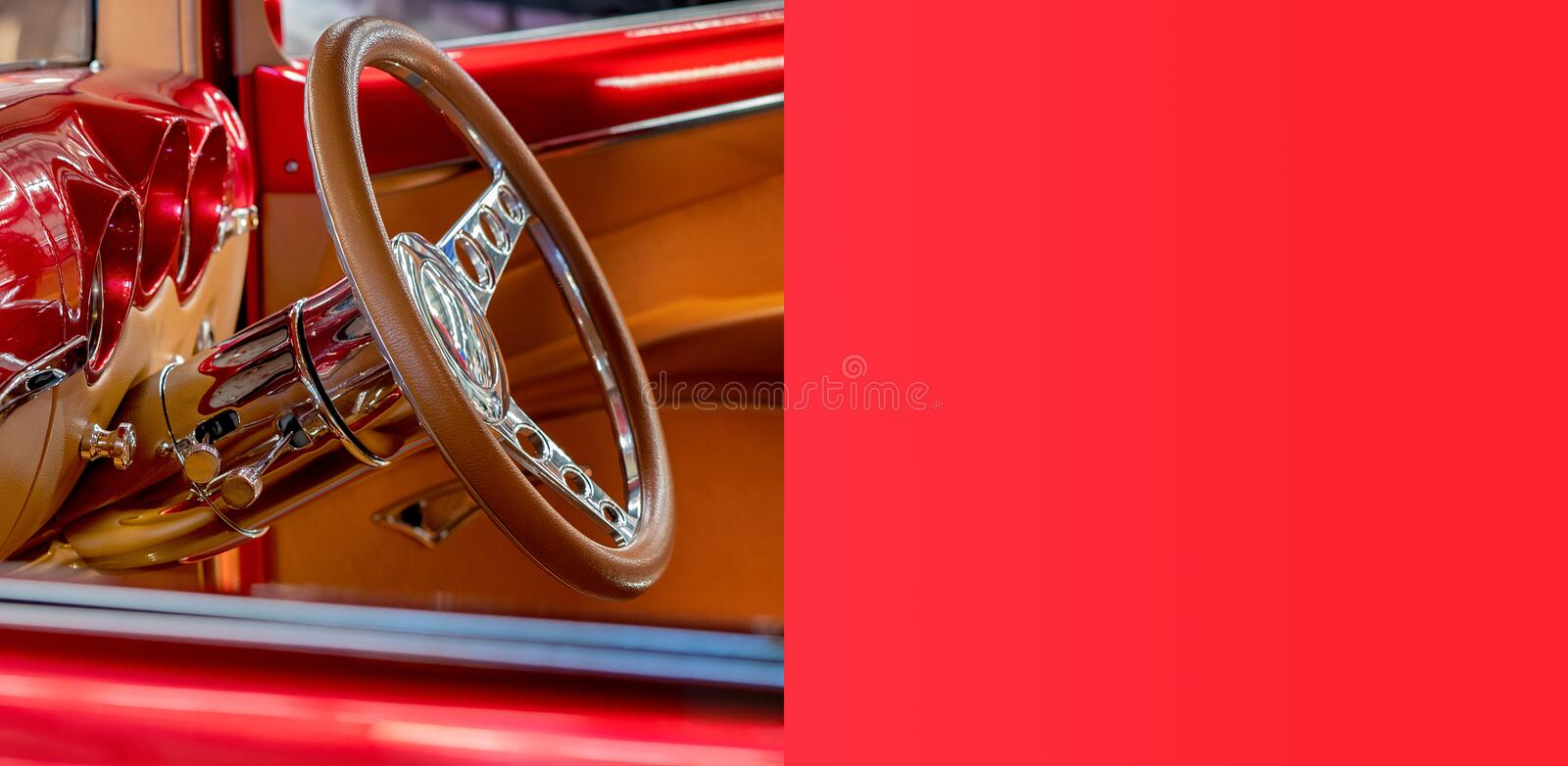 Custom Classic Vintage Car Banner With Copy Space royalty free stock images