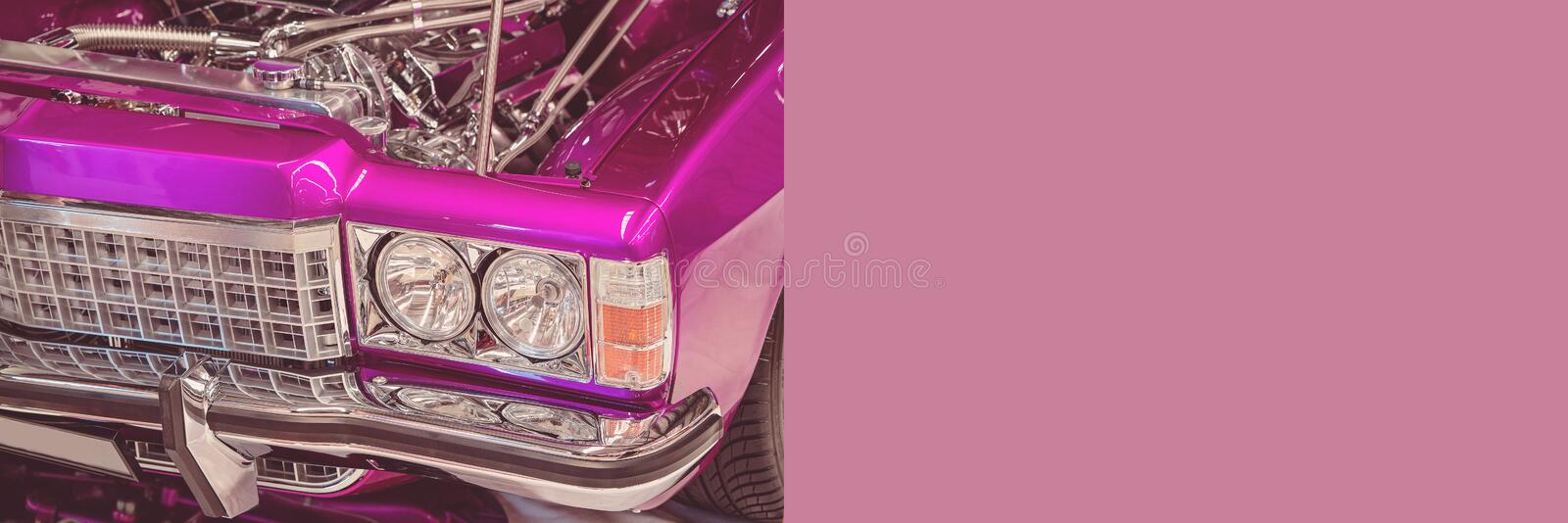 Custom Classic Vintage Car Banner With Copy Space. For text advertising stock images