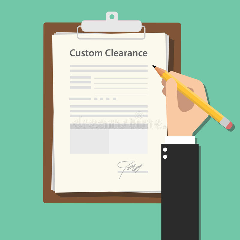Custom clearance hand signing a paper document work on clipboard royalty free illustration
