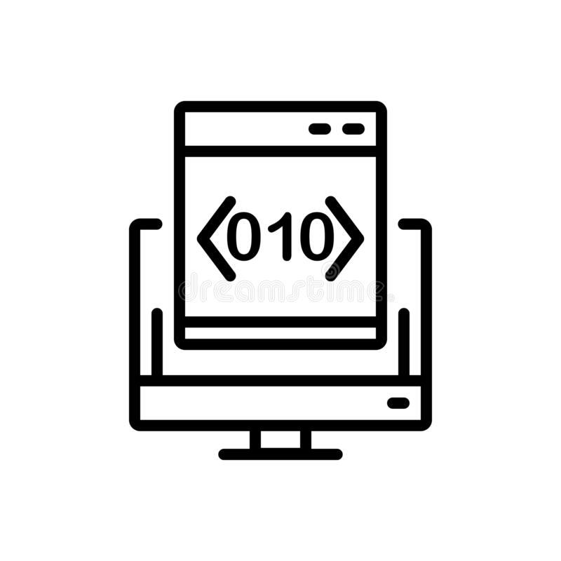 Black line icon for Custom, Coding and software vector illustration