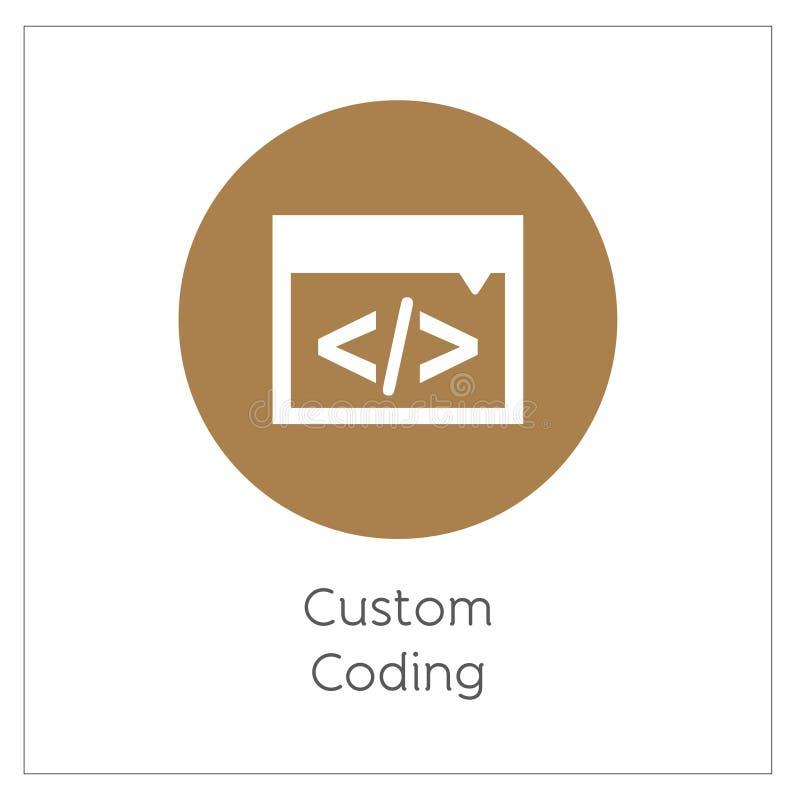 Custom Coding Simple Logo Icon Vector Ilustration royalty free illustration