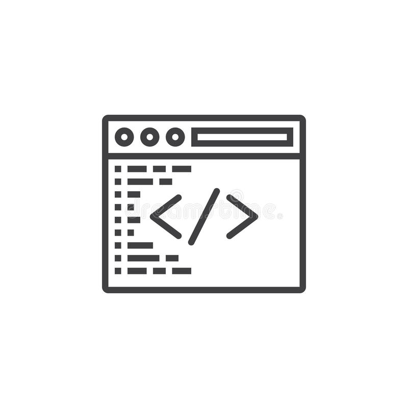 Custom coding symbol. Programming line icon, outline vector sign royalty free illustration