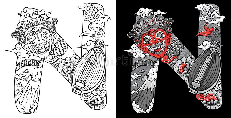 Custom font doodles illustration mask and traditional music sasando from indonesia royalty free illustration