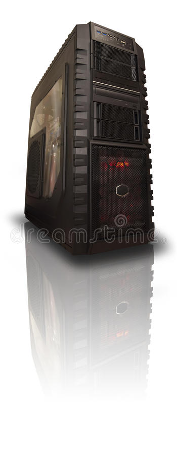 Custom Gaming Computer With Reflection stock photography
