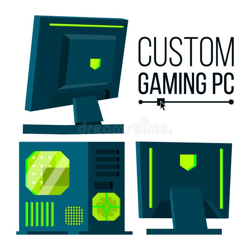 Custom Gaming PC Vector. Modern Custom Build Personal Computer. Hardline Liquid Beautiful Case Design. Isolated Flat royalty free illustration