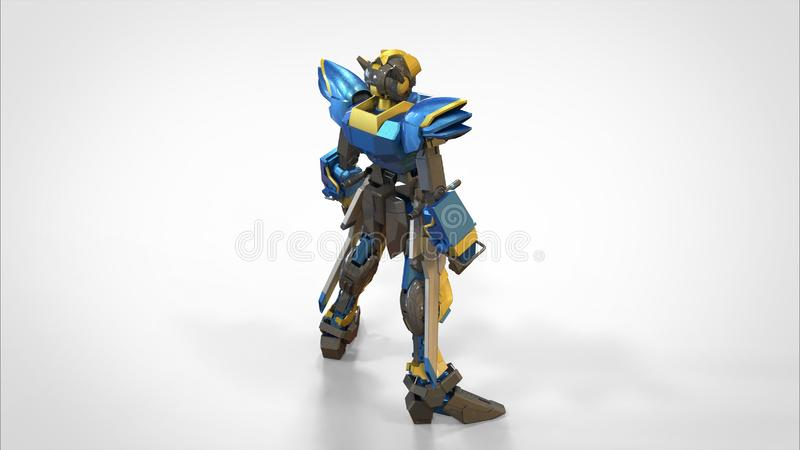 3d rendering of a mech standing on a isolated background royalty free illustration