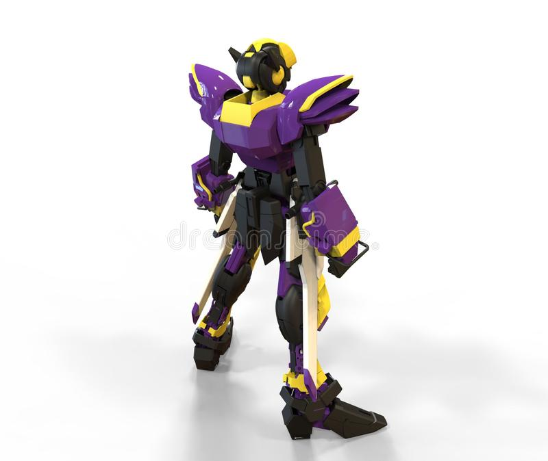 3d rendering of a mech standing on a isolated background stock illustration