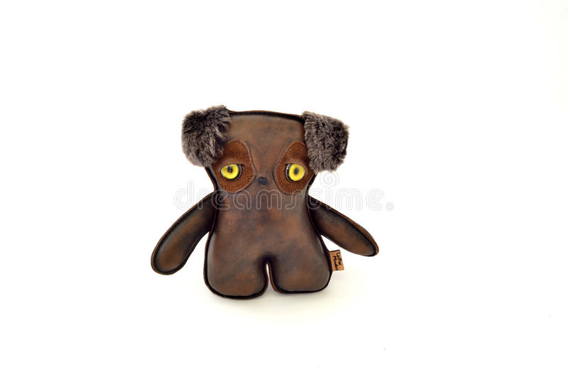 Custom handcrafted stuffed leather toy puppy - front royalty free stock image
