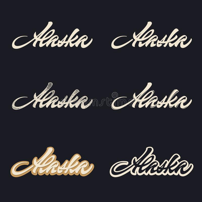 Alaska brush lettering stock image
