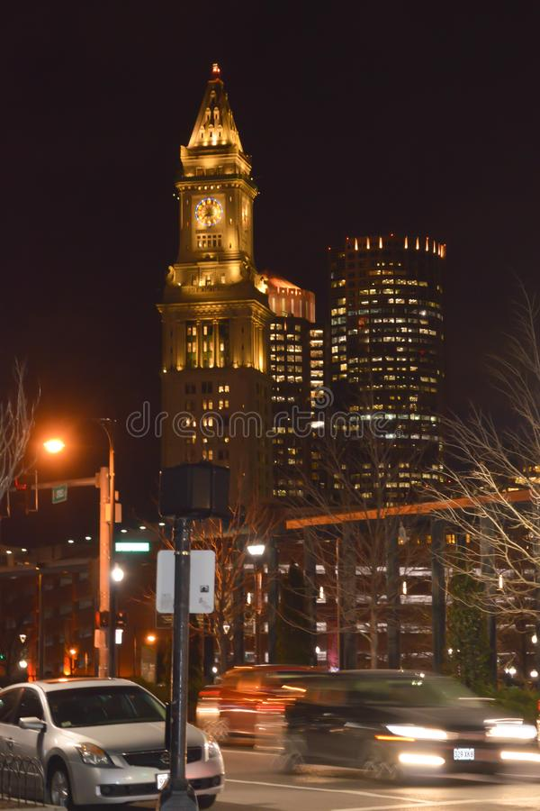 Free Custom House Clock Tower At Night In Boston, USA On December 11, 2016. Stock Image - 101962191