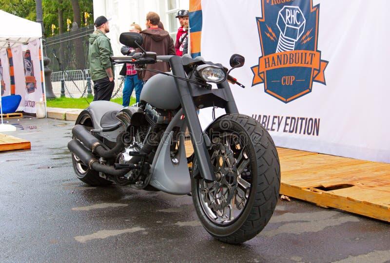 Custom motorbike on Russian Harley Days, St. Petersburg stock photography