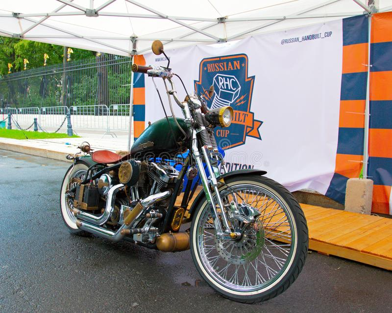 Custom motorbike on Russian Harley Days, St. Petersburg royalty free stock images