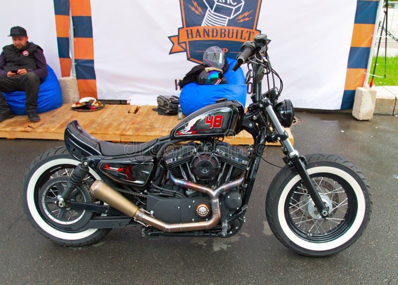 Custom motorbike on Russian Harley Days, St. Petersburg royalty free stock image