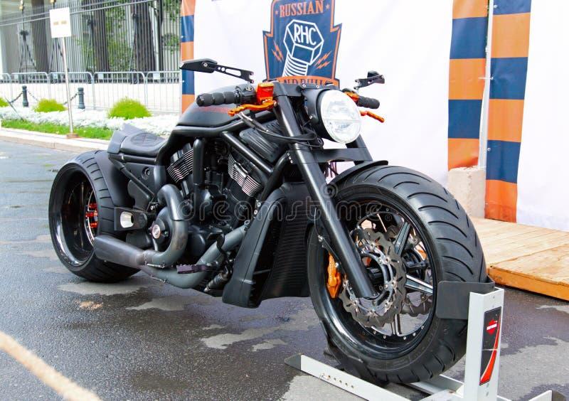 Custom motorbike on Russian Harley Days, St. Petersburg stock photo