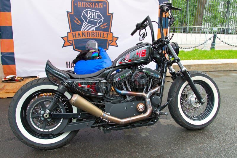 Custom motorbike on Russian Harley Days, St. Petersburg stock image