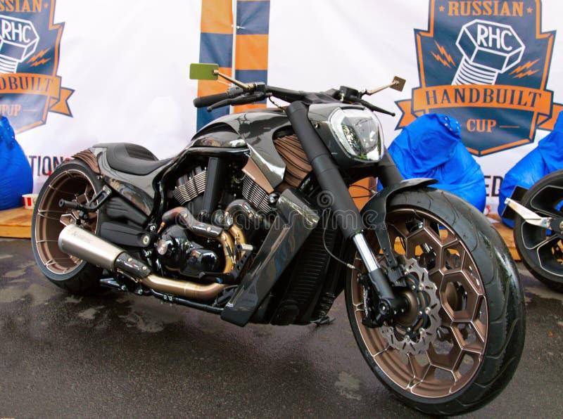Custom motorbike on Russian Harley Days, St. Petersburg stock photos