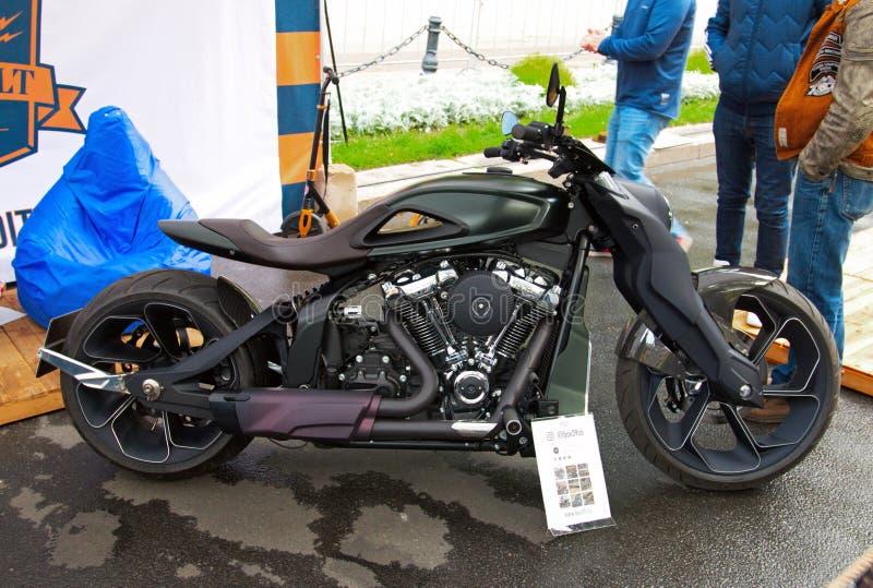 Custom motorbike on Russian Harley Days, St. Petersburg royalty free stock photo