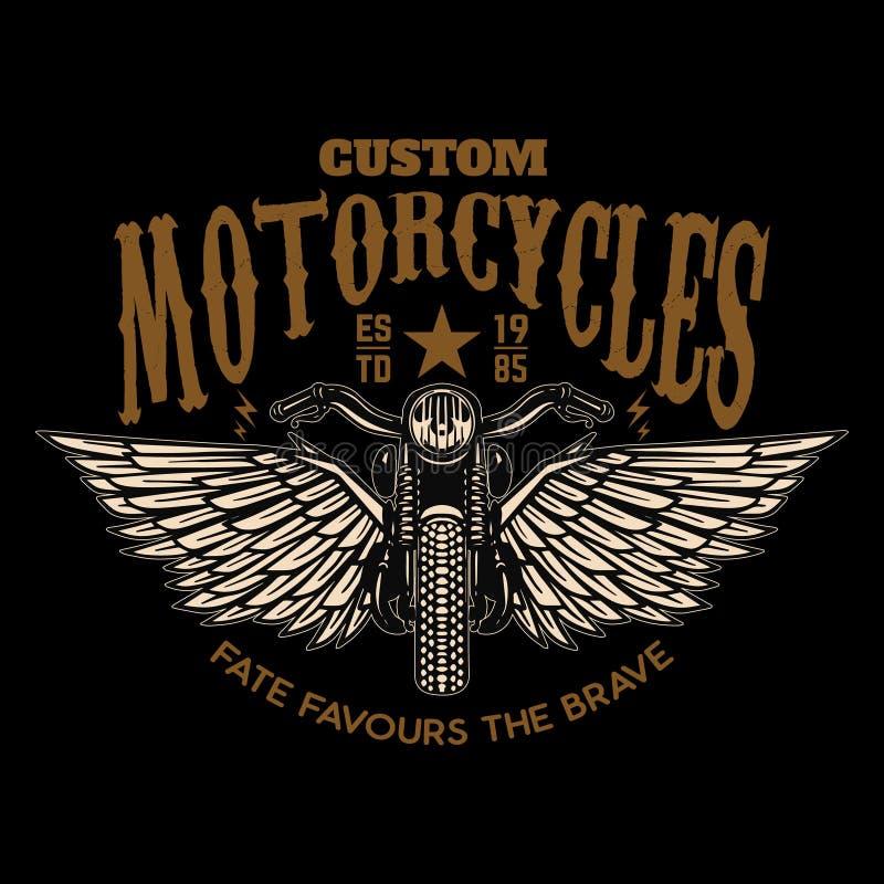 Custom motorcycles. Winged motorbike on black background. Design element for logo, label, emblem, sign, poster. royalty free illustration