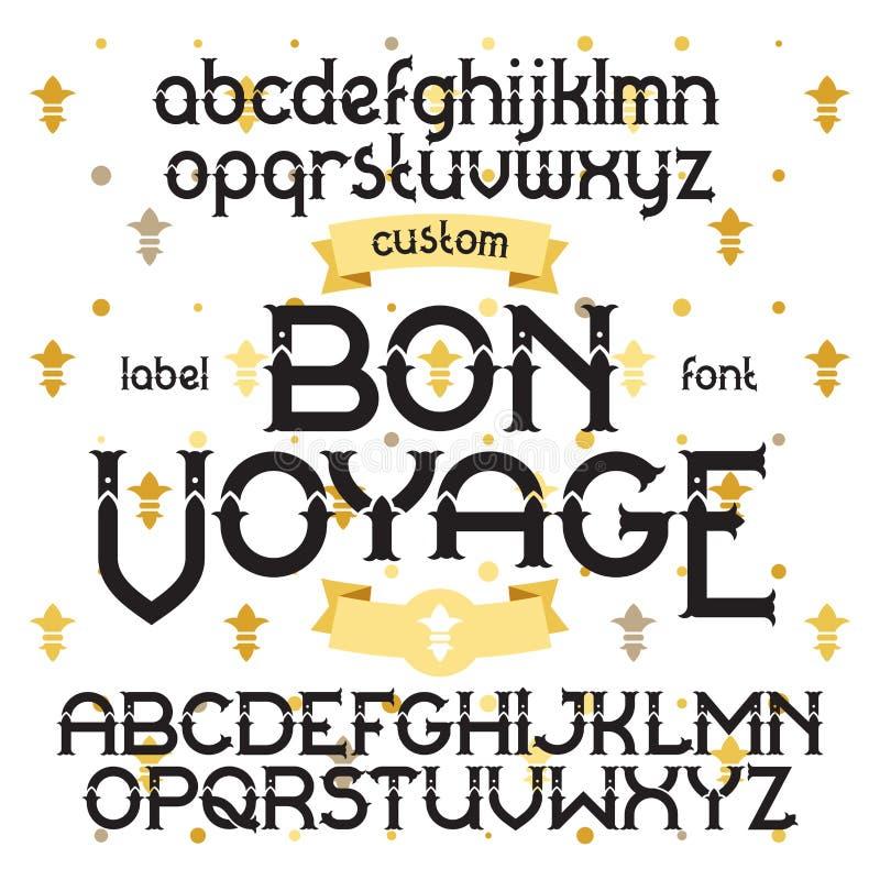 Custom retro typeface Bon Voyage. Vintage alphabet font set on the background of gold royal heraldic lilies royalty free illustration