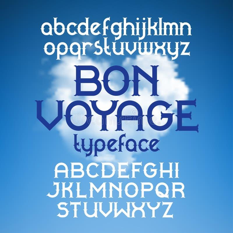 Custom retro typeface Bon Voyage. Vintage alphabet font set on the background of heart shape cloudscape royalty free illustration