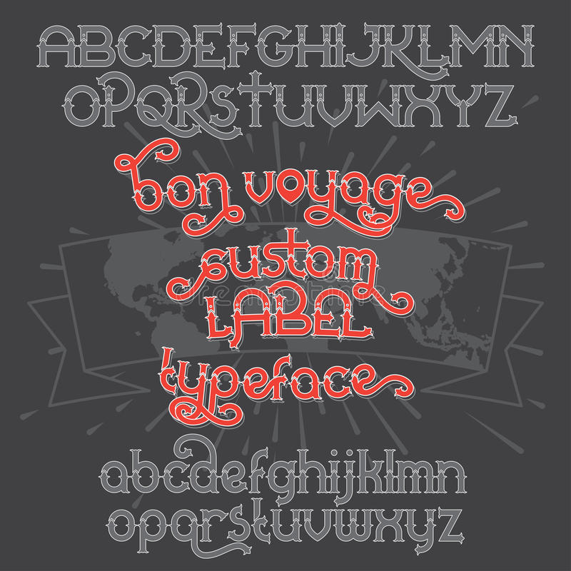 Custom retro typeface Bon Voyage. Vintage alphabet font set on the dark background and world map ribbon scroll royalty free illustration