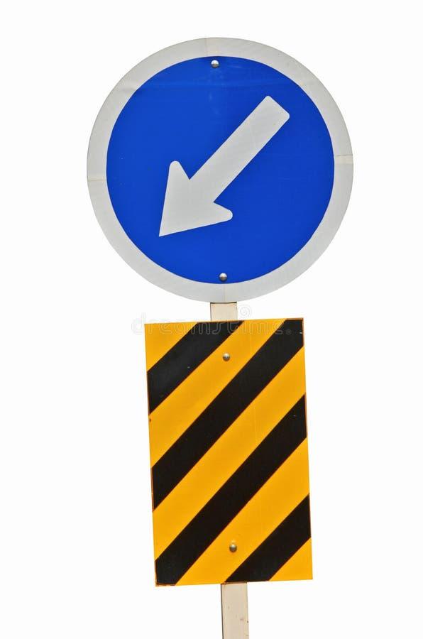 Custom road traffic mandatory sign and head island sign. On white background royalty free stock image