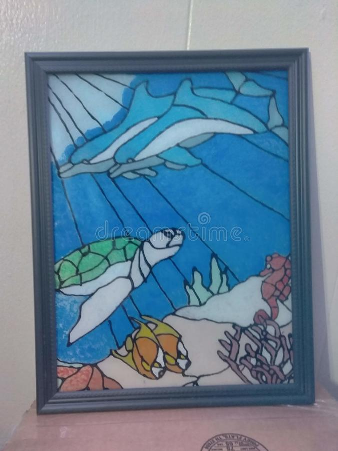 Custom sealife stained glass art stock photos