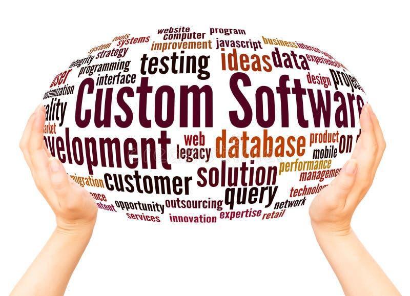 Custom Software Development word cloud hand sphere concept royalty free illustration