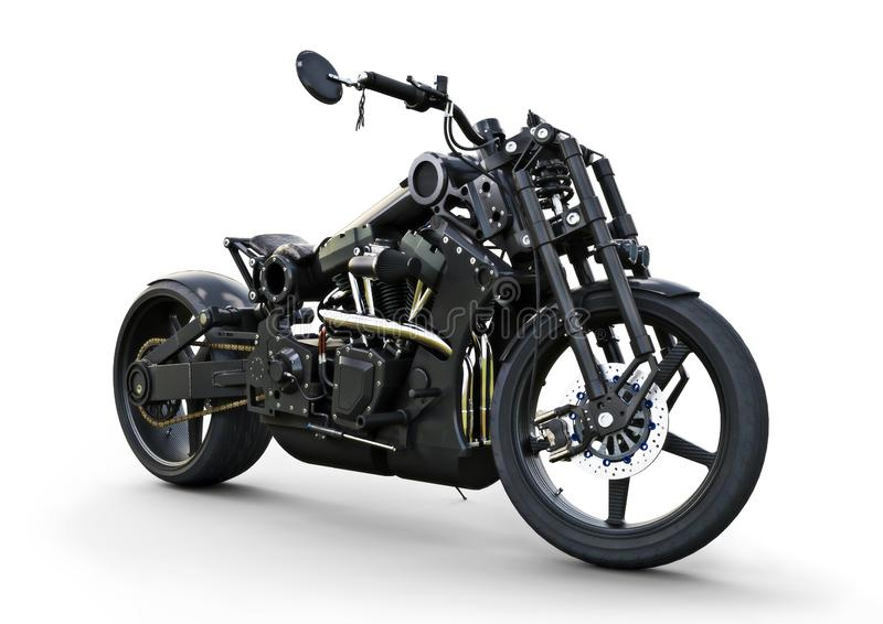 Custom street motorcycle with a racy modern style. stock illustration