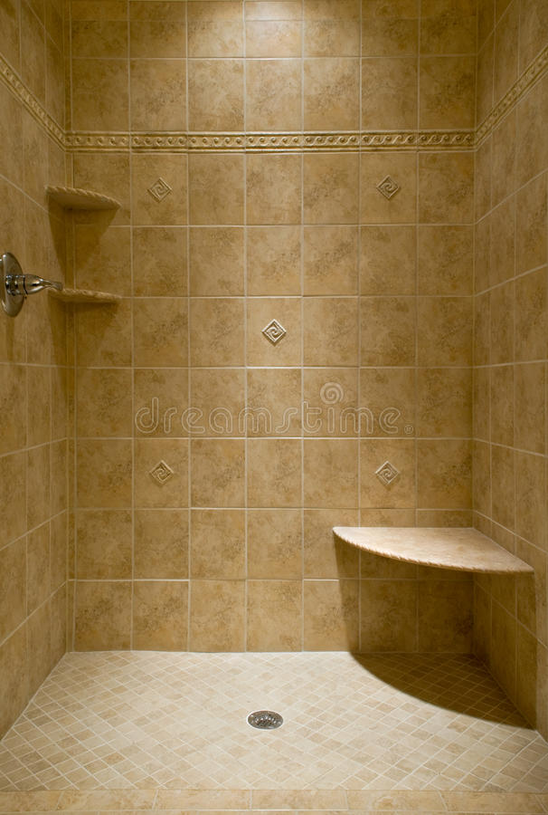 Custom Tiled Stand Up Shower Stock Photo Image Of