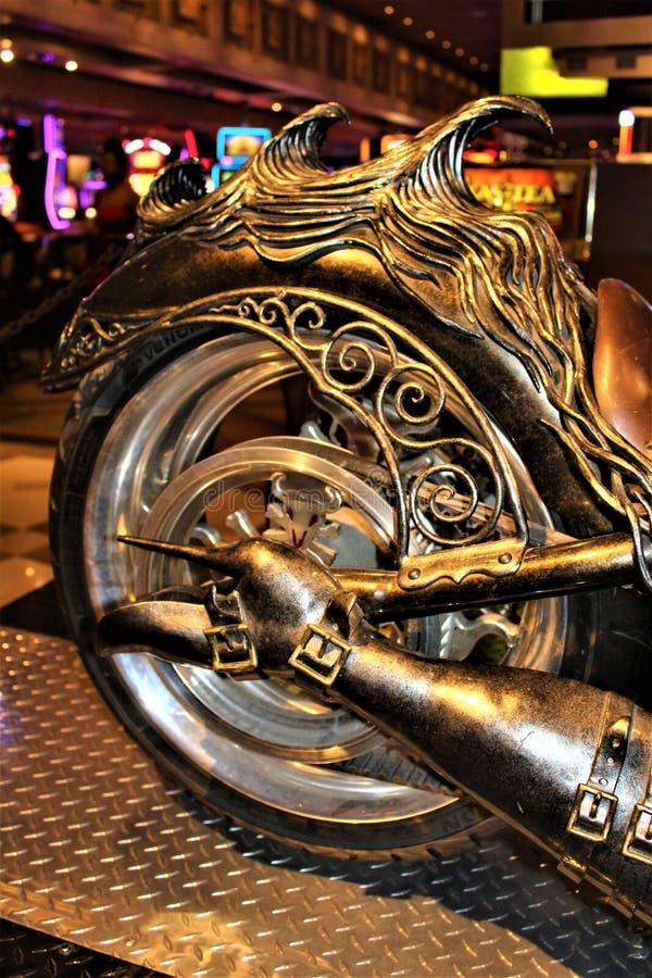 Unique Custom Metal Art Designed Motorcycle. Custom unique metal art designed motorcycle displayed in a hotel casino resort stock photos
