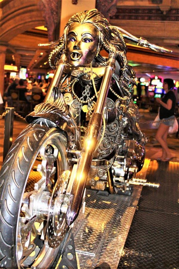 Unique Custom Metal Art Designed Motorcycle. Custom unique metal art designed motorcycle displayed in a hotel casino resort stock images