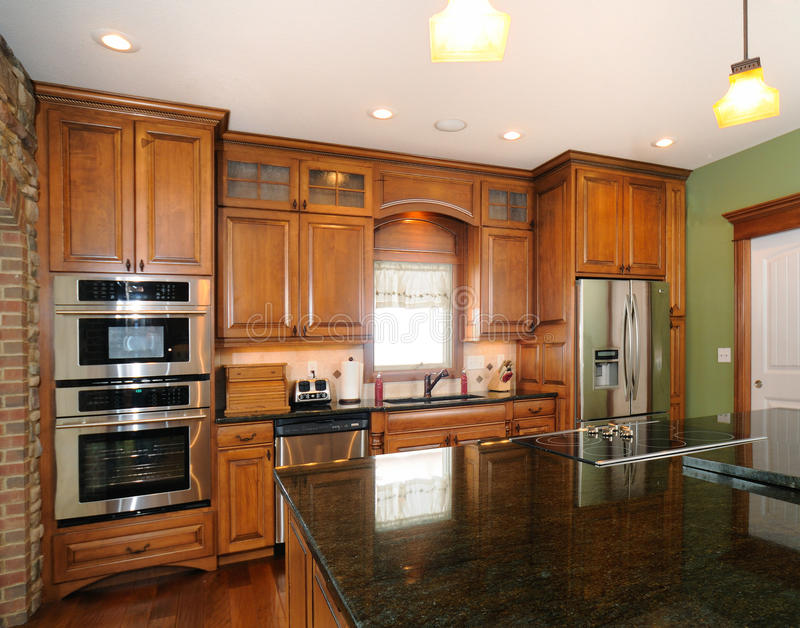 Custom Upscale Kitchen Cabinets Stock Image - Image of doors ...