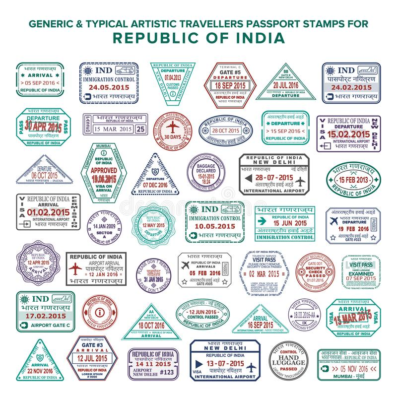 Custom vector typical artistic passport arrival and departure stamps variations set for India vector illustration