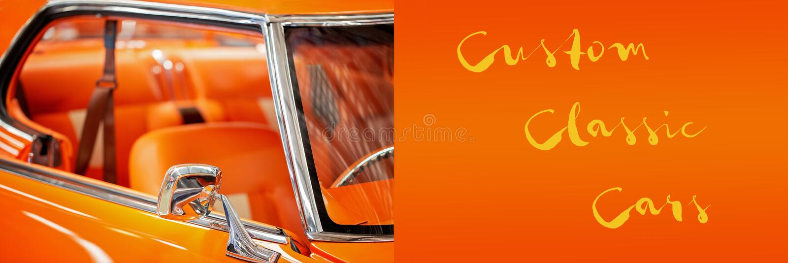 Custom vintage car banner. With custom classic cars text announcement royalty free stock images