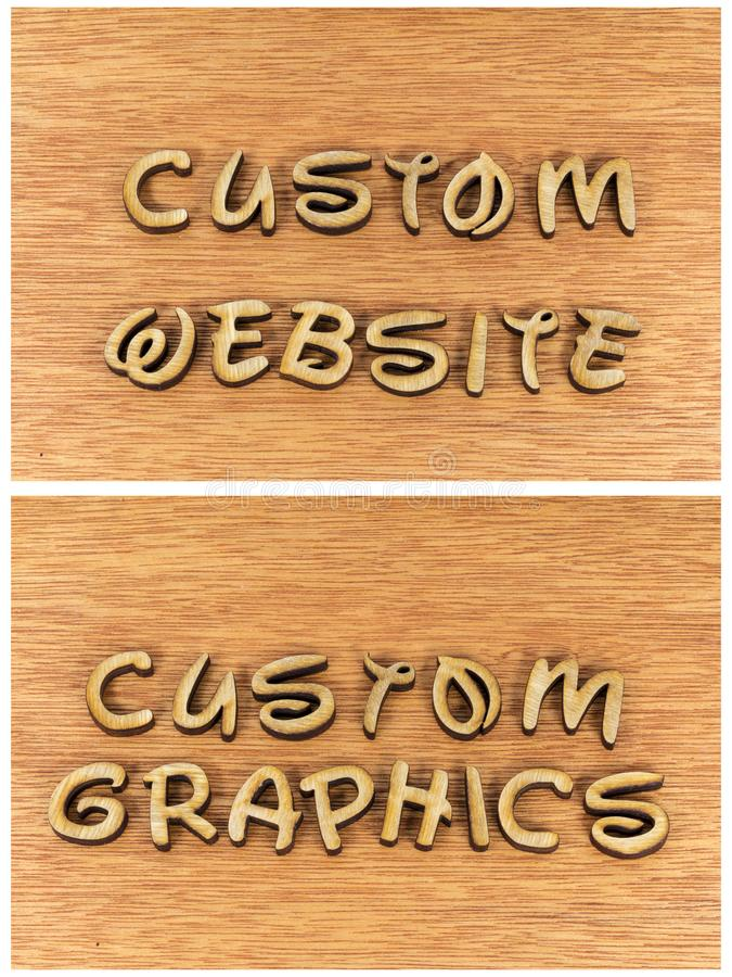 Custom website graphics business wood letters royalty free stock image