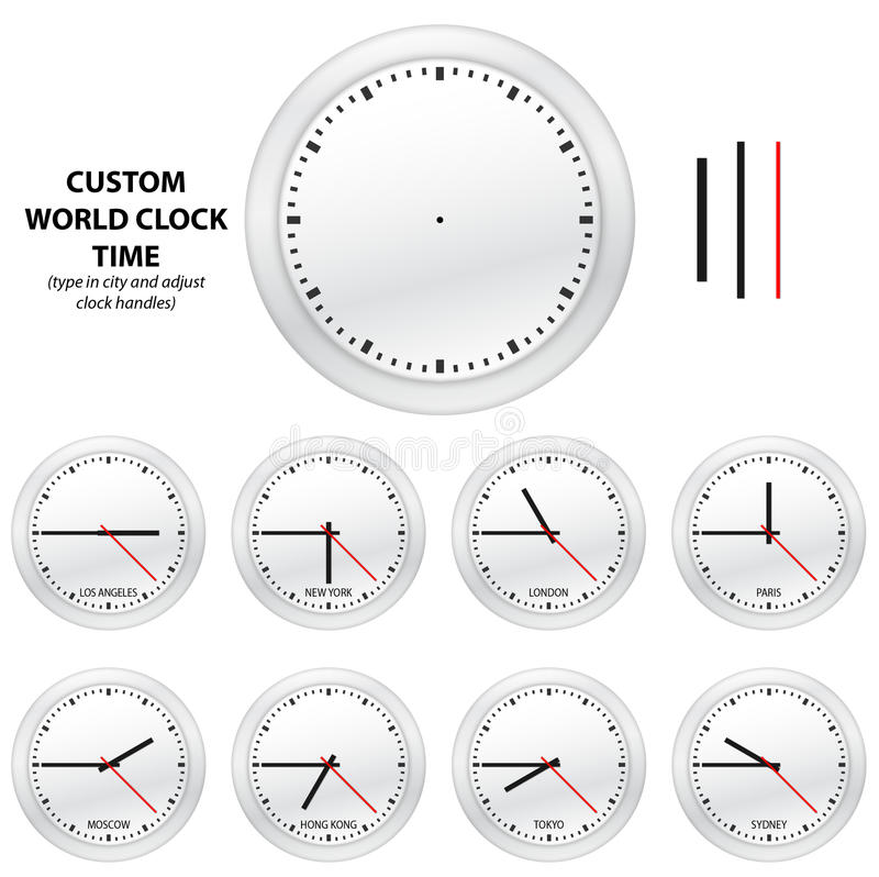 Download Custom World Clock Time - EDITABLE VECTOR EDITION Stock Photos - Image: 16925073